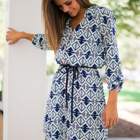 Which Way Dress, Aqua/Navy