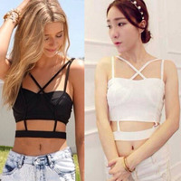 Sexy Lady Boho Cami Cross Backless Stretch Crop Band Bustier Top Bralette Vest C