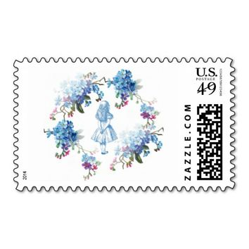 Alice in Wonderland Blue Floral Stamp