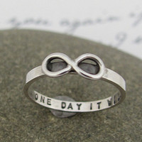 Infinity ring, hand stamped personalized, &quot;skinny fit&quot; ring in sterling silver