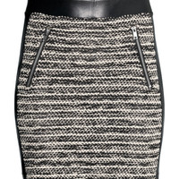 H&M - Short Skirt - Black melange - Ladies