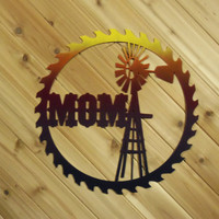 Wall Art Metal Saw Blade Cut Out with a windmill By PrecisionCut