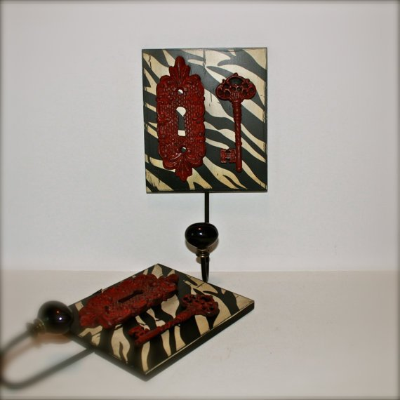 Wall Hook/ Red Zebra Print Set/ Bath Towel/ Robe Wall Hook/ Shabby chic/ Bathroom Fixture/ Cottage Chic/ Coastal Home/French Country