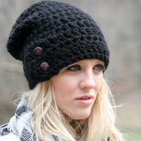 Slouchy  Beanie Hat With Two Buttons- Black