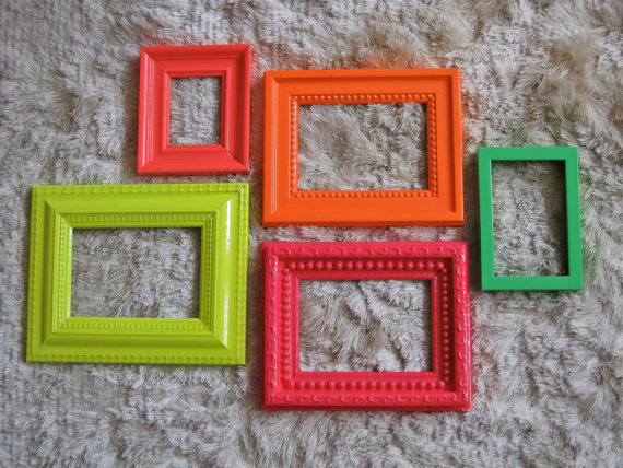 Bright Neon Frame Mirror set in Hot Pink, Cherry Red, Acid Yellow, Safety Orange & Grass Green