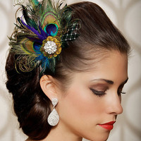 Royal Blue Peacock Hair Clip Bridal Head Piece Peacock Feather Fascinator Wedding Hairpiece Sapphire Vintage - Made to Order - JOSEPHINE LUX