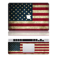 USA Flag ---  Mac Full Decal Macbook Decals apple decals macbook air macbook pro decal vinyls macbook sticker Vinyl mac decals