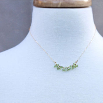 Peridot Necklace, Delicate Layering Necklace, Birthstone Jewelry, Beaded Chain Necklace, Gemstone Necklace, 14k Gold Filled Necklace
