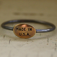 Made in U.S.A. Ring brass charm and sterling silver band