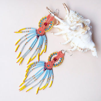 Long micro macrame earrings - Tassel Fringe Orange Blue Yellow Purple Unique
