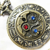antique bronze Steampunk Zodiac Pocket watch Locket Necklace,red and blue SWAROVSKI crystals mechanical pattern