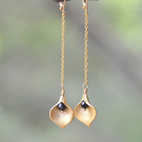 Long Gold Chain Earrings with Calla Lily Flower Petal and Black Crystals - Chic Long Gold Chain Earrings