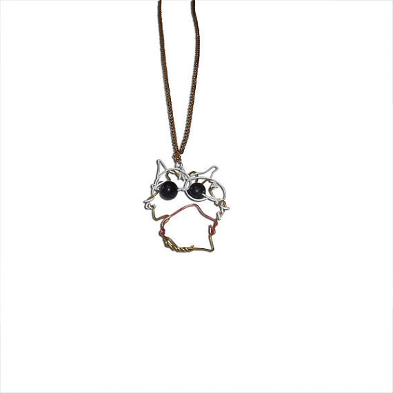 Baby Owl Chainlink Charm Necklace