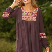 JUDITH MARCH:All The Time In The World Tunic-Charcoal