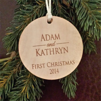 Two First Names Round Wooden Personalized Christmas Ornament for a Couple's First Christmas