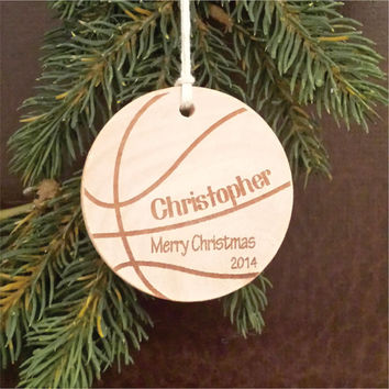 Round Wooden Christmas Ornament, Sports Themed, Engraved, and Personalized as a Basketball