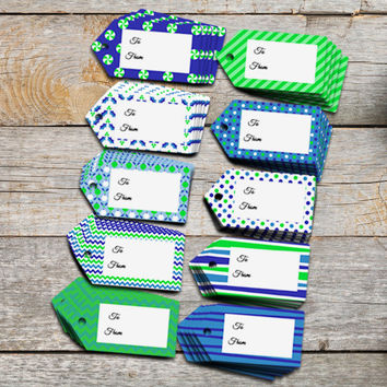 Gift tags in blue and green, party Christmas holiday themed present toppers instant download DIY printable