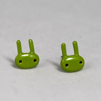 Cute Lime Green Bunny Rabbit Earrings