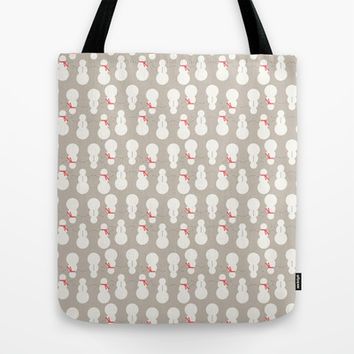 Christmas Snow Man Pattern Tote Bag by Allyson Johnson