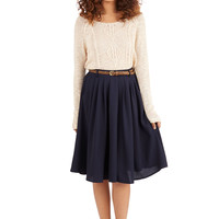 ModCloth Scholastic Long Full Breathtaking Tiger Lilies Skirt in Navy