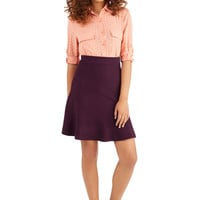 ModCloth Minimal Short Length A-line Stop and Stereo Skirt in Plum
