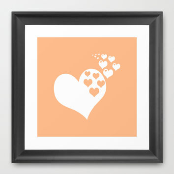 Peach Orange Hearts of Love Framed Art Print by BeautifulHomes