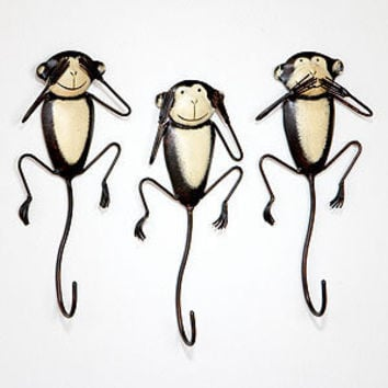 No Evil Monkeys Hooks, Set of 3
