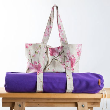 Spring Sale Purple Yoga Mat Bag + Pink Sakura Tote Bag - Yoga Bag- Yoga Accessories - Pink Linen Yoga Bag - Set of two