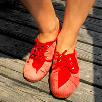 Hand dyed RED canvas shoes/ Size 8 and size 7 available