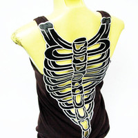 Sexy Skeleton t-shirt Women shirt tank top Artificial embellished Stencil Bone Skull Art Cute Beautiful vintage summer white Brown B24 sz M