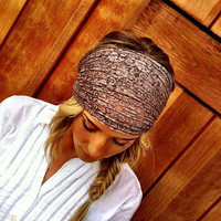 Lace Turban Headband Stretchy Brown Hair Band Wrap