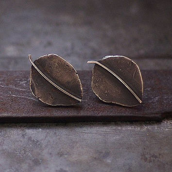 leaves •  studs • oxidized sterling silver • gift