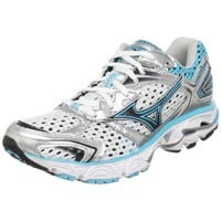 Mizuno Women`s Wave Inspire 7 Running Shoe,White/Blue Atoll-blue Depths,7.5 D US