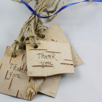 Birch Bark Gifts tags set of 4 with Thank you by Rusticblend
