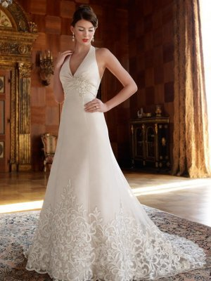 A-Line Halter Beaded Satin Chapel Train Wedding Dress at Dresseshop