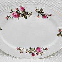 Royal Rose Moss Rose Japan Vintage Platter - Cottage Chic Romantic Victorian Decor