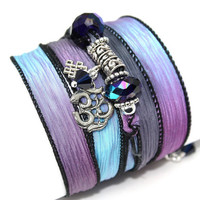 Hand Dyed Silk Wrap Bracelet-Buried Treasure with Pewter Om, Buddhist Eternal Knot and Indigo Swarovski Crystals