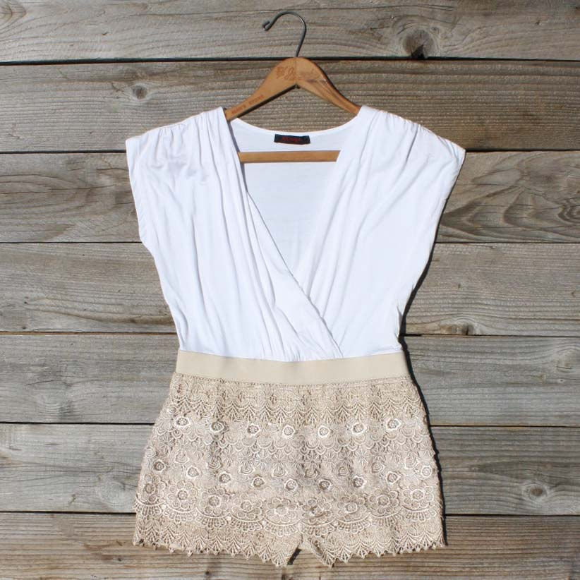 Tucked Lace Romper, Sweet Women's Country Clothing