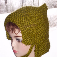 Knit  Pixie Bonnet - Green Women