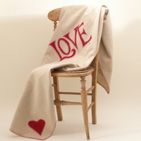 Love Blanket 100% pure wool throw in red and cream