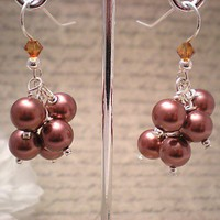 Topaz Crystal and Chocolate Swarovski Pearl Cluster Sterling Earrings