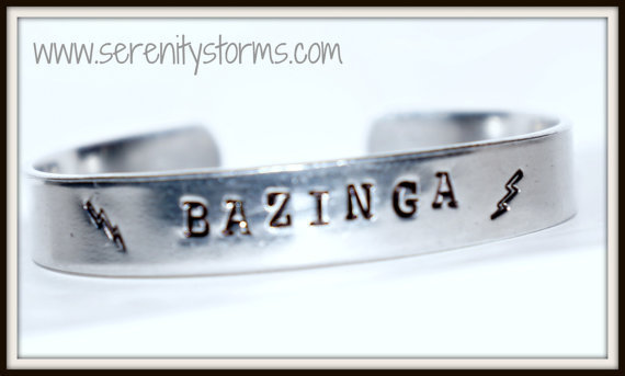 Bazinga or What the Frack Hand Stamped Custom Silver Metal Cuff Bracelet