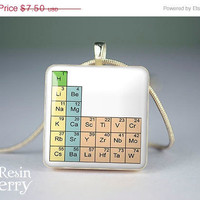 ON SALE: scrabble tile necklace,periodic table of elements resin pendant,necklace pendants- T0187SI