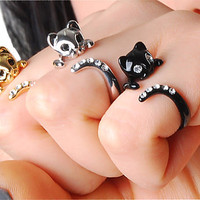 PROMOTION 2 and 1 Free - This Week only - Beautiful Swarovski Crystal Cat Ring