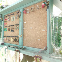 "Jewelry Organizer Wall Display Message Board..""JADE & BLACK SATIN"" with Bronze or You Choose Color ..Shabby Chic Beach Cottage...Handmade"