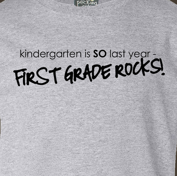 Custom childrens kindergarten is so last year first grade rocks back to school Tshirt