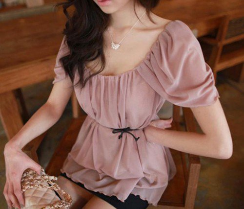 Sweet Princess. Princess Sleeves Pleated Light Pink Blouse Top
