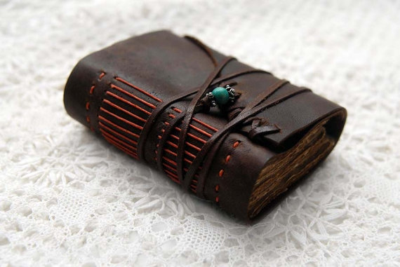 Teal &amp; Orange Doodler - Rustic Brown Leather Doodler with Tea Stained Pages and Mixed Beads