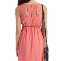 belted chiffon dress