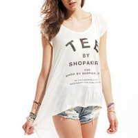 ShopAKIRA Chiffon Back Tee in White with Black